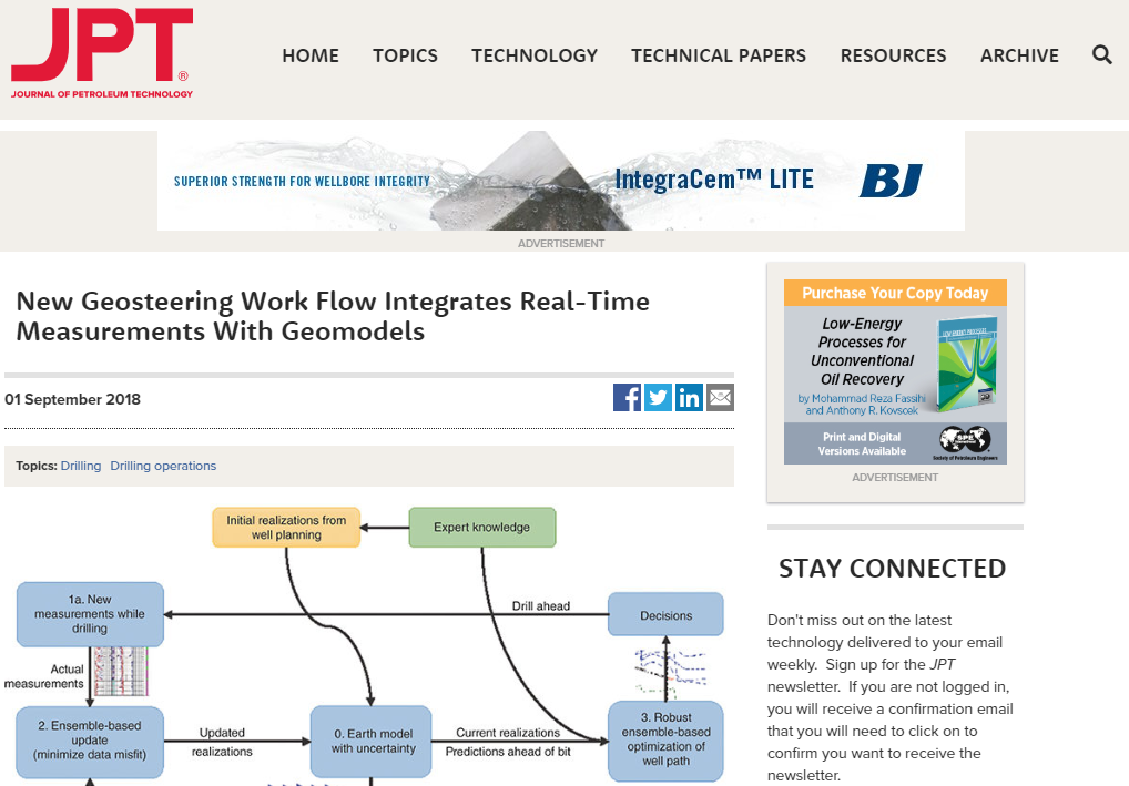 New Geosteering Work Flow Integrates Real-Time Measurements With Geomodels