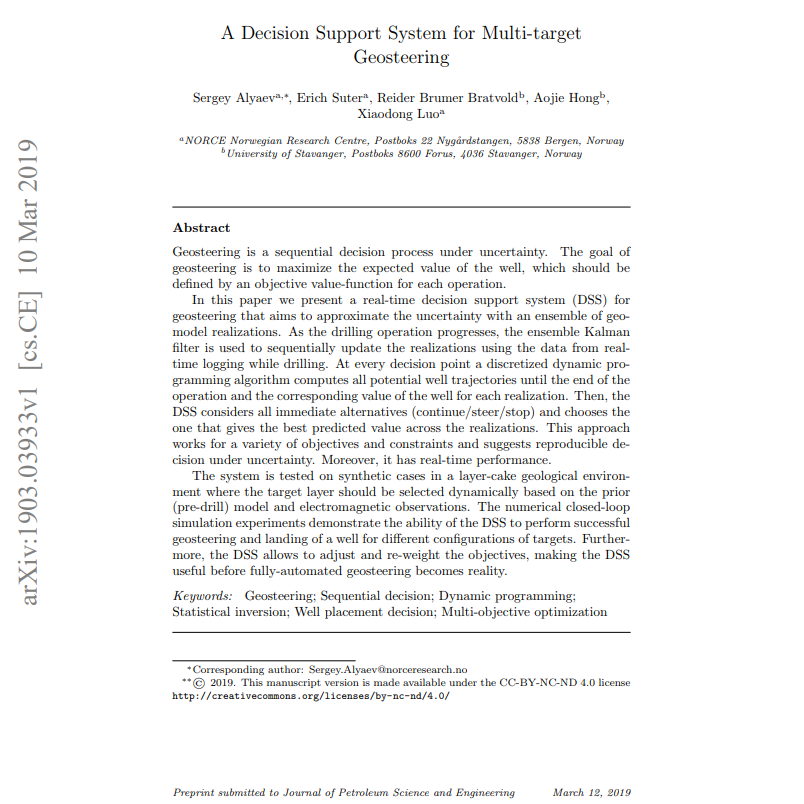 A Decision Support System for Multi-target Geosteering