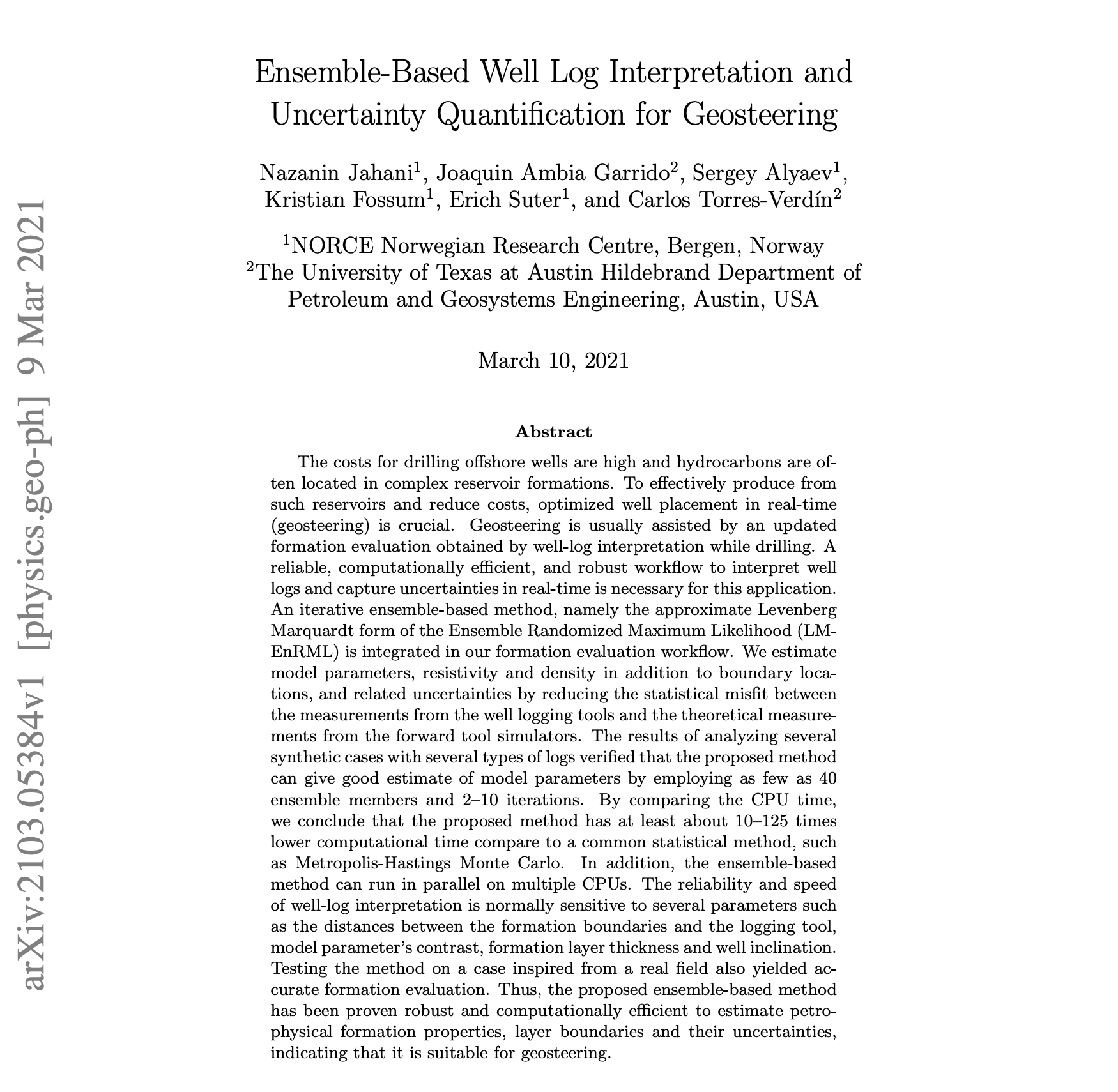 Ensemble-Based Well Log Interpretation and Uncertainty Quantification for Geosteering